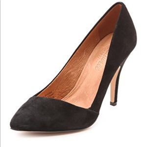 Madewell Mira black suede pointed toe pumps Sz 7.5